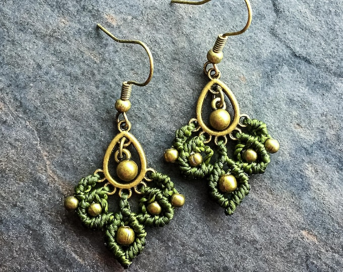 Micro macramé small gypsy earrings boho jewelry