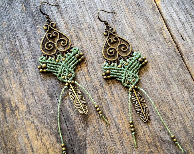 Big bohemian feather macrame earrings boho jewelry