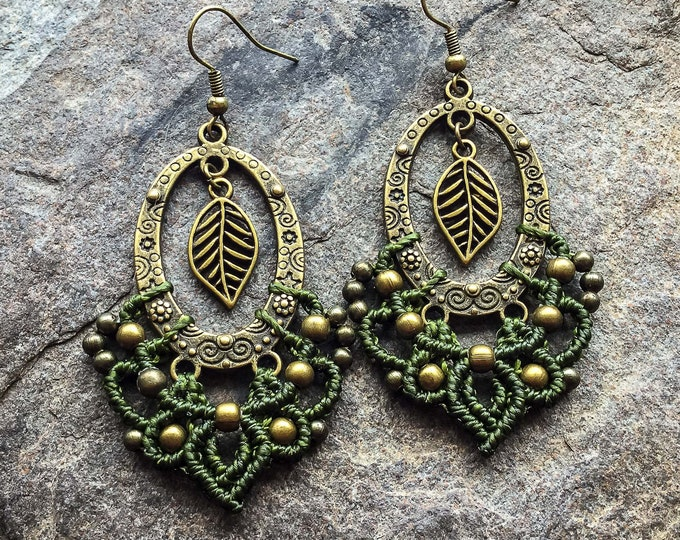 Micro macrame gypsy leaf earrings bohemian boho jewelry