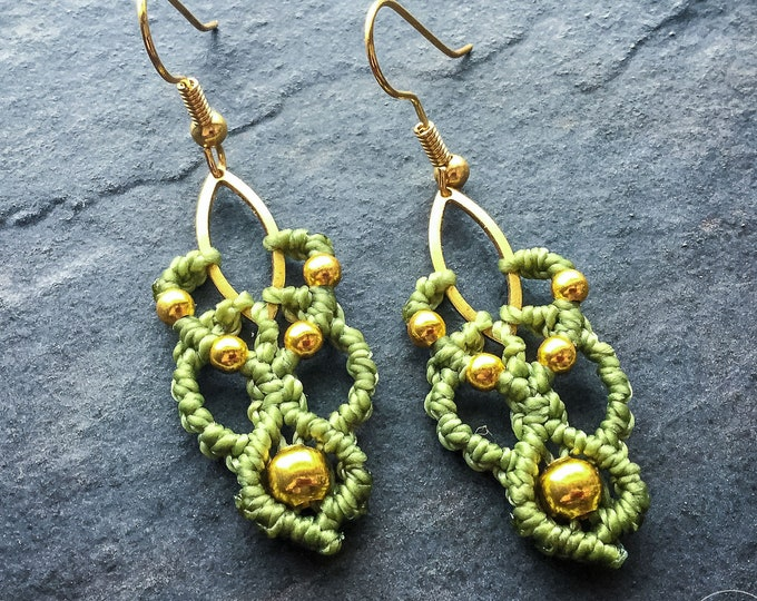 READY TO SHIP Small micro macrame earrings sage and gold tone boho chic yoga jewelry