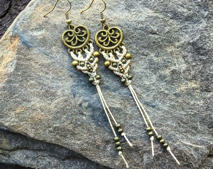 Macrame boho elf earrings bohemian gypsy women jewelry jewellery