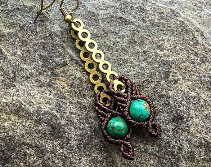 Turquoise boho earrings macrame bohemian knotted micromacrame READY TO SHIP