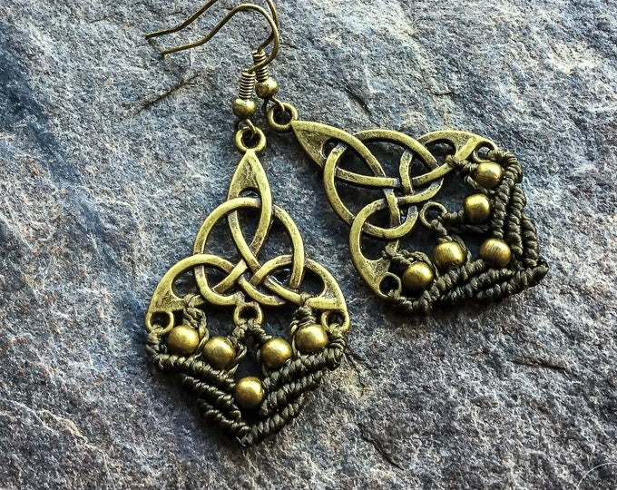 Macrame celtic triangle earrings boho bohemian micromacrame gypsy jewelry jewellery