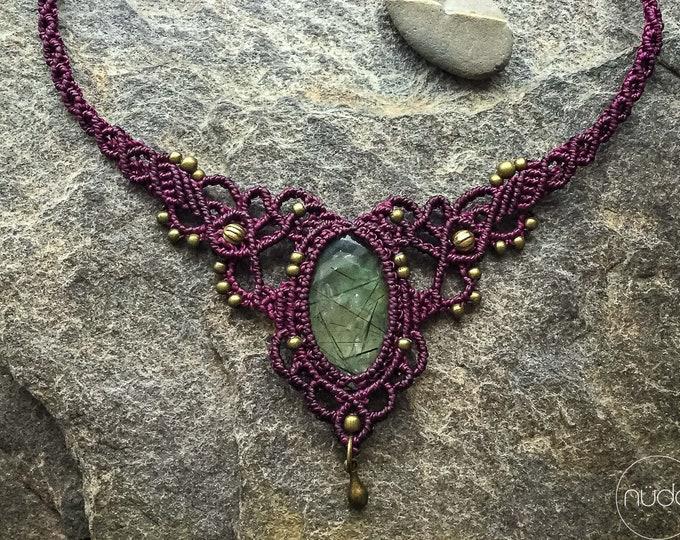 Prehnite macrame necklace bohemian micro macrame tiara boho chic jewelry