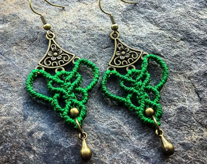 Micro macramé earrings flower boho bohemian macrame jewelry
