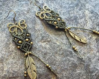 Macrame feather earrings tribal boho bohemian gypsy jewelry macramé