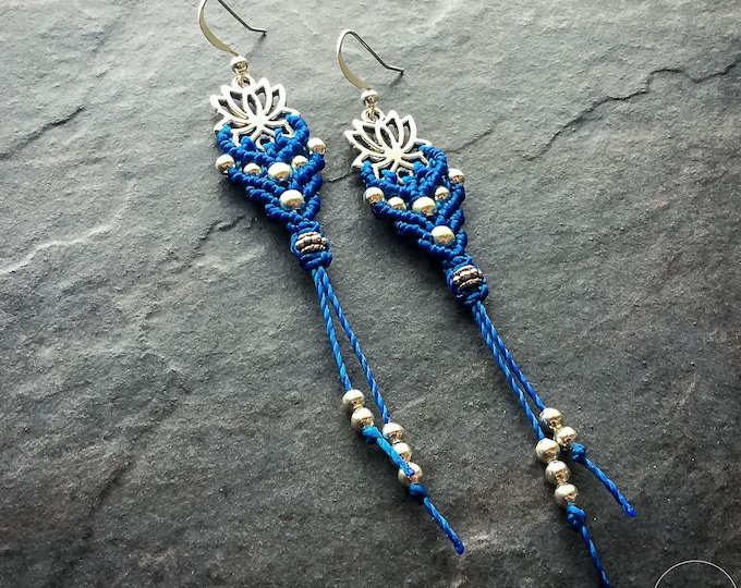 READY TO SHIP Micro macrame lotus earrings blue and silver boho chic yoga jewelry