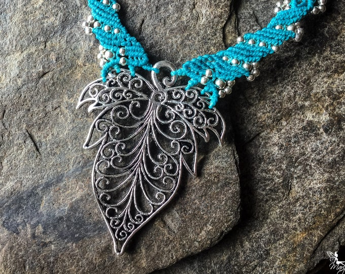 Micro Macrame big leaf elven necklace boho jewelry boho jewelry