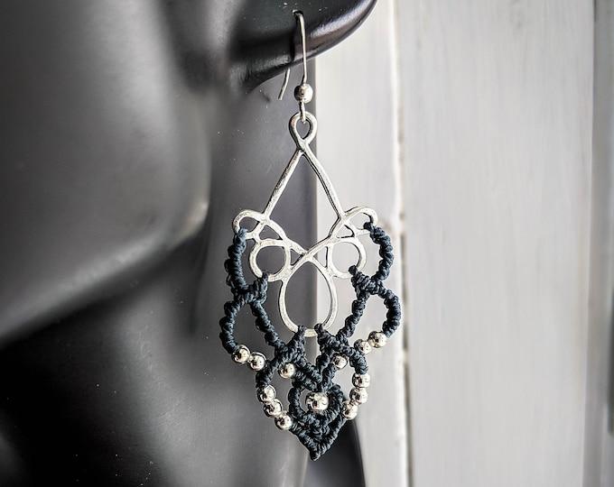 READY TO SHIP Macrame earrings slate and silver boho jewelry bohemian wear