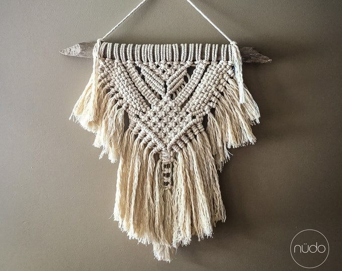 Medium macrame wall hanging driftwood Woven Hanger bohemian rustic home decor