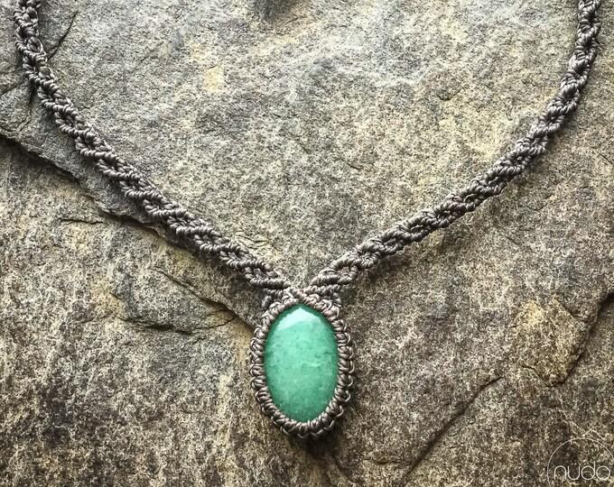 Minimalist macrame Aventurine necklace choker bohemian boho jewelry gift for her