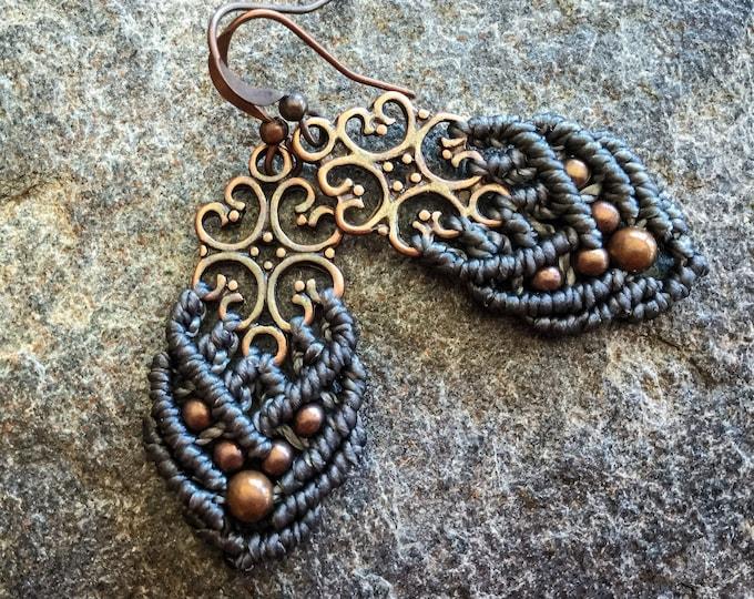Small bohemian Macrame earrings boho jewelry women jewelry