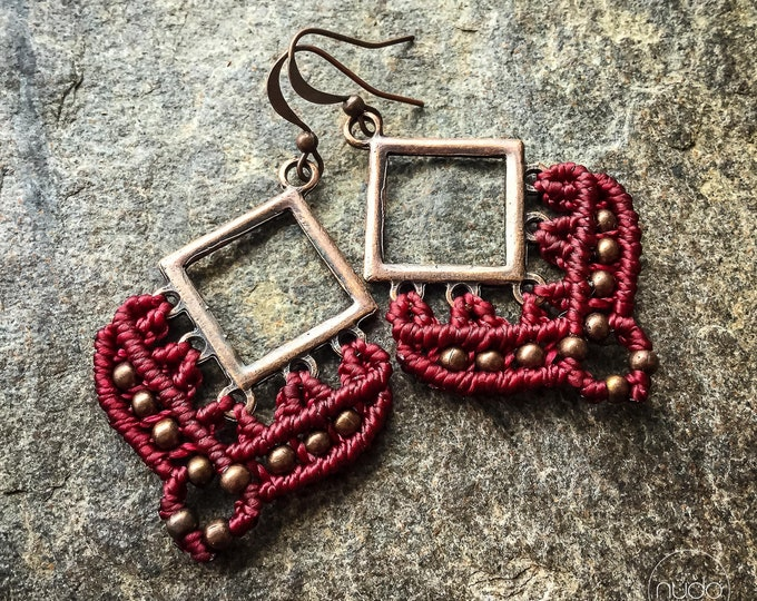 Losange red macrame earrings boho bohemian knotted micromacrame READY TO SHIP