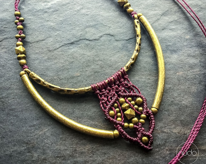 READY TO SHIP Purple macrame tribal chic necklace