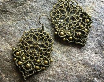 Macrame Mandala earrings boho yoga jewelry micromacrame bohemian wear gypsy