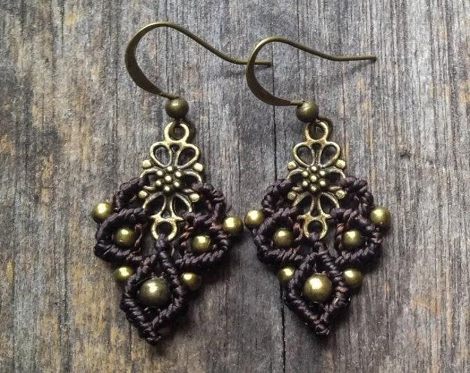 Small macramé boho earrings macrame jewelry bohemian wear gypsy