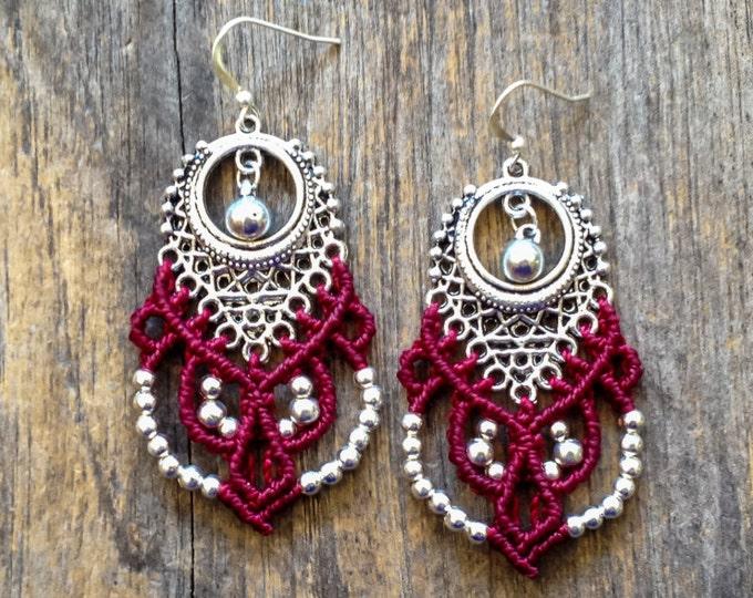 Big tribal chic Micro macrame earrings silver or brass bohemian jewelry