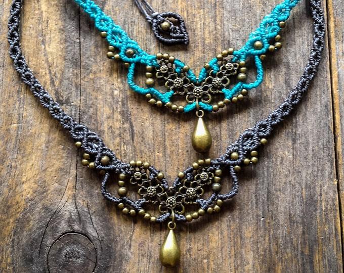 Flowers necklace Macrame boho chic choker antique brass tone bohemian micro macrame jewelry
