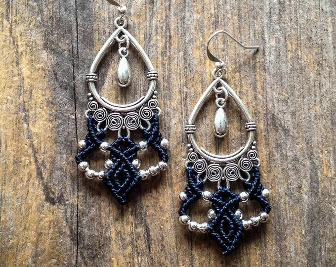 Macrame earrings boho jewelry micro macramé gypsy bohemian wear