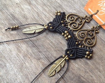 Big Macrame earrings boho chic feather bohemian jewelry by Creations Mariposa