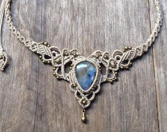 Drop Labradorite boho macrame necklace bohemian chic gemstone choker hippie wedding bridal tiara AEMMA jewelry spiritual gift for her