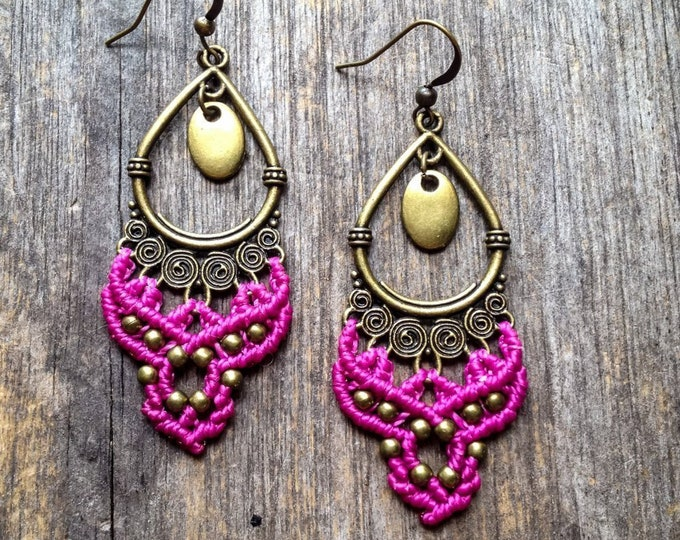 Macrame gypsy earrings boho jewelry bohemian