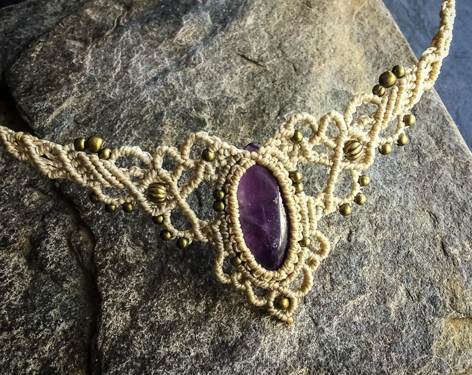 Amethyst Macrame boho choker necklace tiara bohemian jewelry READY TO SHIP
