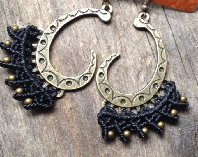 Macrame tribal earrings ethnic chic boho tribal micro macramé jewelry jewellery