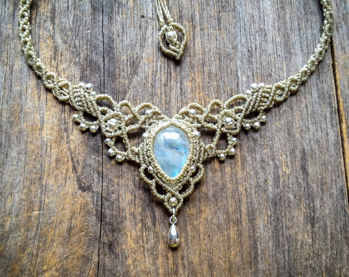 Macrame necklace bohemian wedding tiara Moonstone bridal boho jewelry