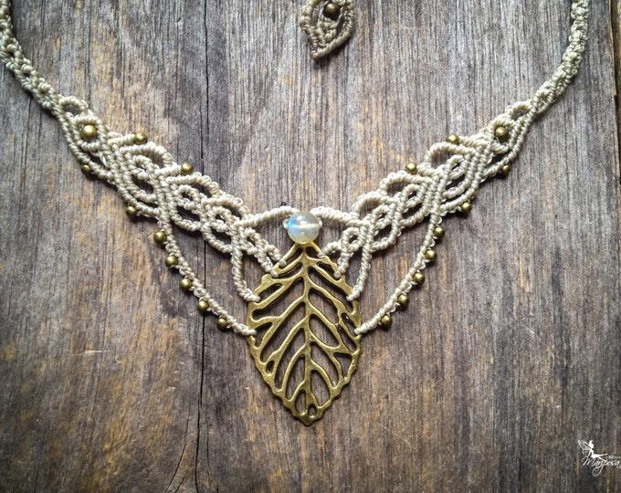Macrame boho leaf labradorite necklace elven bohemian jewelry