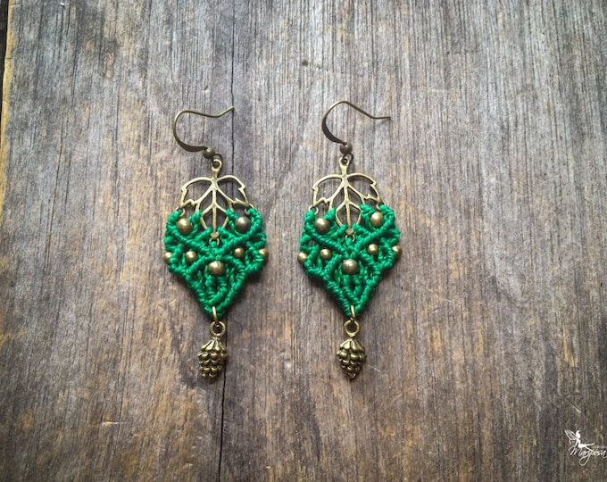 Macrame leaf earrings with pinecone indie bohemian jewelry