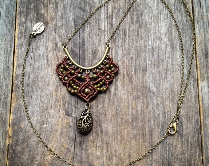 Boho Macrame necklace pendant long chain bohemian jewelry