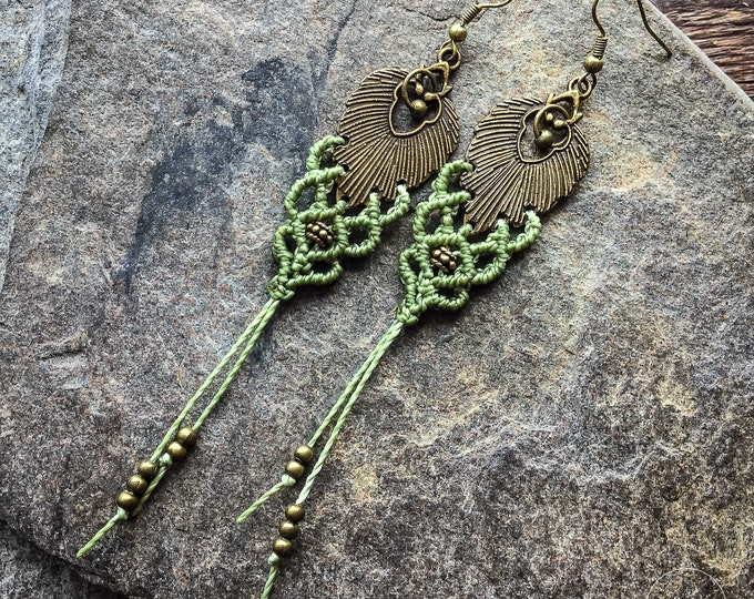 Macrame boho earrings bohemian tassel elven women jewelry