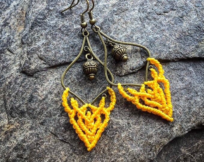 Boho macrame earrings Sun yellow bohemian knotted micromacrame READY TO SHIP