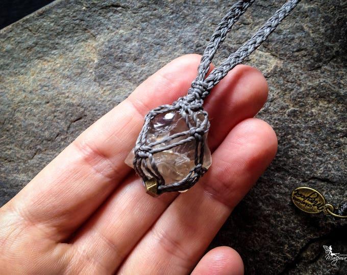 Raw smokey quartz macrame weaving necklace boho crystal nugget bohemian gypsy jewelry