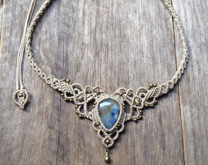 Micro macrame necklace Labradorite bohemian wedding tiara boho chic elven jewelry