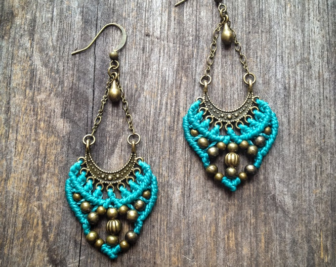 Gypsy Macrame earrings antique brass tone bohemian boho chic jewelry