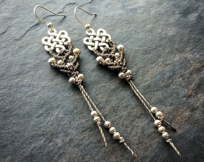Macrame earrings endless knot tibetan boho bohemian women jewelry