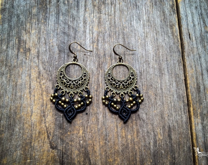 Macrame earrings gypsy bohemian jewelry boho style