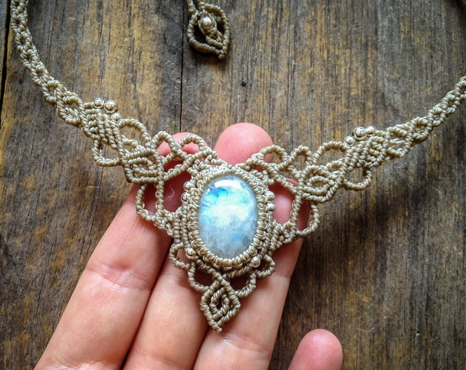 Macrame Moonstone Necklace boho wedding jewelry bohemian tiara