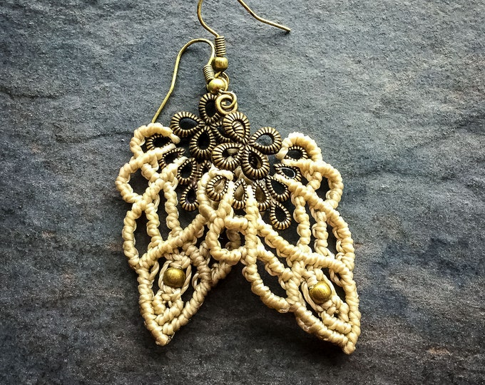 Macrame bohemian chic elven earrings boho micro macrame jewelry