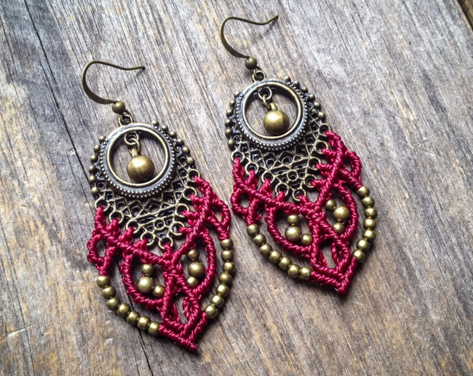 Big tribal macrame earrings gypsy bohemian boho jewelry