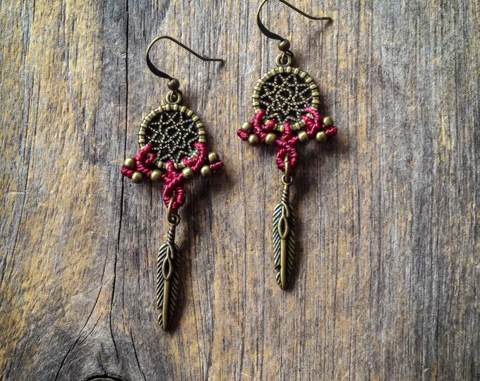Small dreamcatcher Macrame earrings boho bohemian tribal chic jewelry