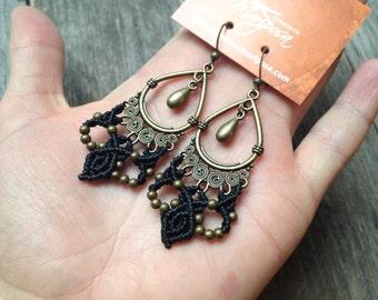 Macrame earrings boho jewelry micro macramé gypsy bohemian wear by Creations Mariposa