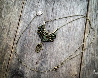 Micro Macrame necklace elven leaf pendant on chain antique brass tone boho macramé jewelry by Creations Mariposa