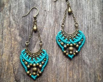 Gypsy Macrame earrings antique brass tone bohemian boho chic jewelry by Creations Mariposa