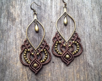 Big Micro macrame gypsy earrings bohemian chic jewelry by Creations Mariposa