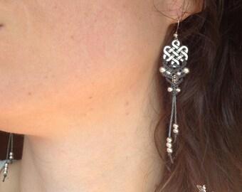 Macrame earrings endless knot tibetan boho silver or brass bohemian women jewelry by Creations Mariposa