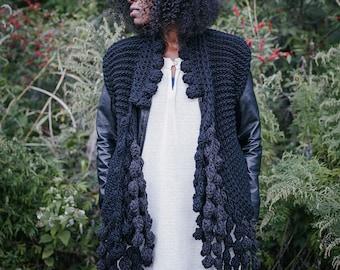 The Konjo Sweater Vest/Super Chunky Wool Black Sweater/Sweater Vest with Chunky Crochet Bobbles/Ready to Ship