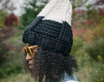The Tepee Hat in Ebony Ivory/Chunky Winter Hat/Crochet Hat/Crochet Ski Hat/Handmade Chunky Yarn Hat